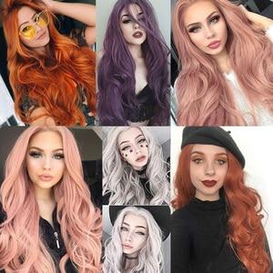 Image 5 - Leeven peluca con malla frontal rojo cobrizo largo ondulado, sintética, 24 pulgadas, rosa, naranja, morado, pelucas con minimechones, peluca de jengibre rubio 613