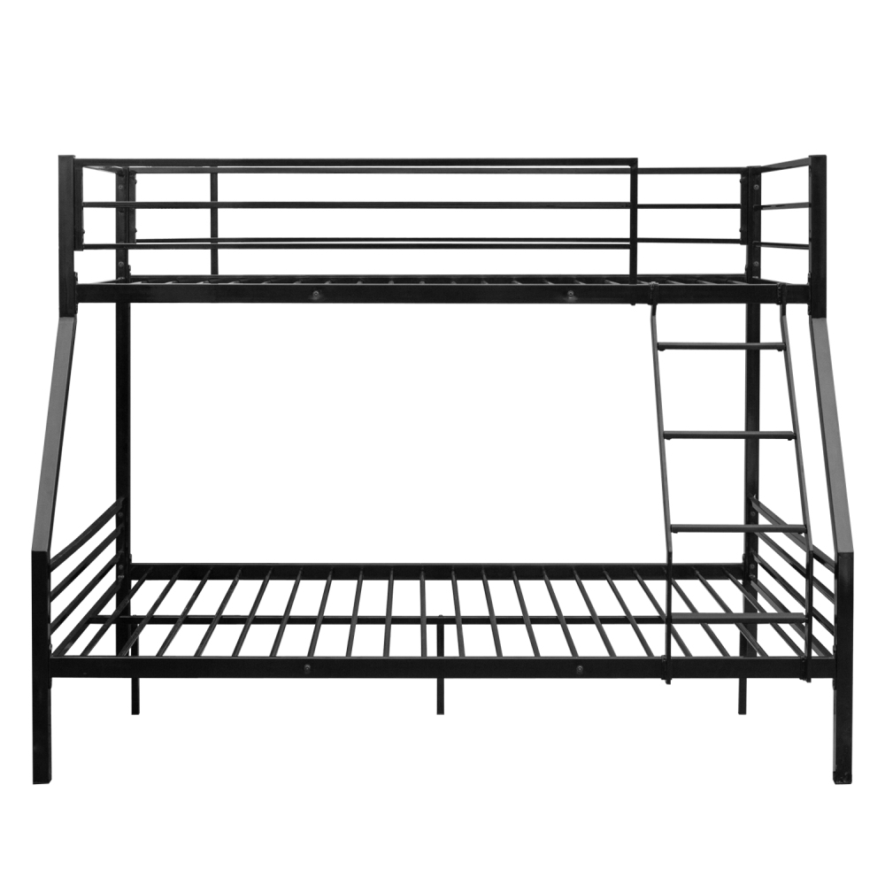 Newborn Toddler Baby Crib Breathable Mesh Anti-Collision Bed Bumper Bunk Bed With Oblique Ladder Black With Rubber Pad Ladder