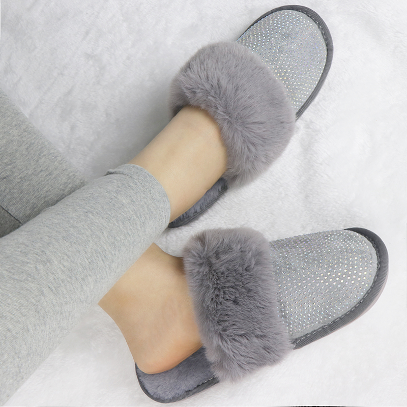 Winter Slippers Fur Slides Warm Plush Home Shoes Rhinestone Furry Slippers Ladies Indoor Bedroom Shoes Zapatos De Mujer