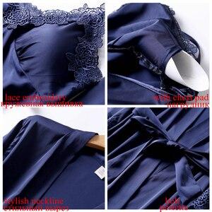 Image 4 - JULYS SONG Conjunto de pijama Sexy de 4 piezas para mujer, bata de seda de imitación, pantalones cortos con tirantes de encaje, ropa de dormir con almohadillas en el pecho