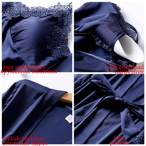 Image 4 - Julys歌 4 ピースセクシーなパジャマセット女性フェイクシルクドレッシングガウンレーススリングショーツ夏ローブパジャマと胸パッド