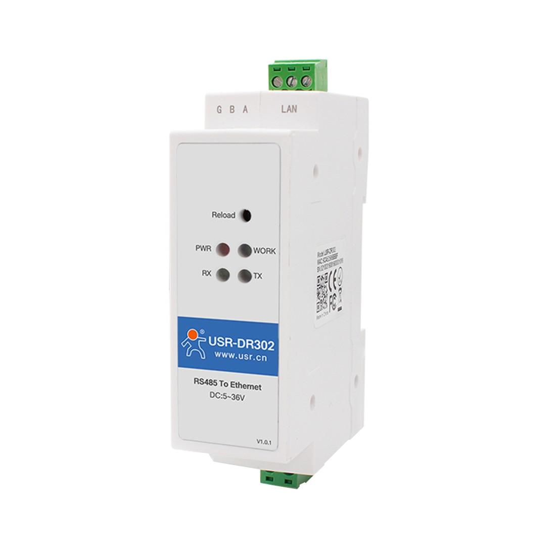USR-DR302 DIN-Rail Modbus RS485 SERIAL Port TO Ethernet Converter Bidirectional Transparent Transmission Between RS485 And RJ45