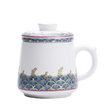 Blue And White Silver Cup 999 Pure Silver Health Cup Ceramic Water Cup Silver Gilded Personal Office Tea Cup With Cover Filter portable ceramic thermos cup blue and white porcelain business office gift tea cup water cup