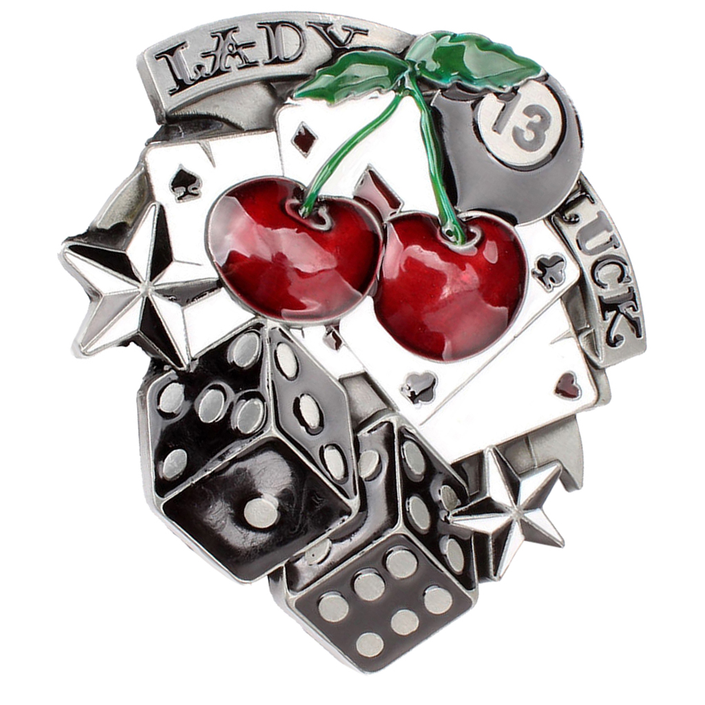 Fashion Lady Luck Vegas Poker Cards Dice Cherry Gamble Western Belt Buckle
