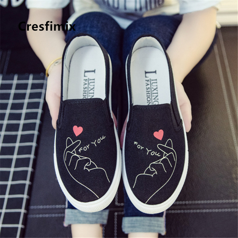 Cresfimix zapatos de mujer women fashion comfortable white flroal flat shoes lady casual platform canvas shoes cool shos C2777