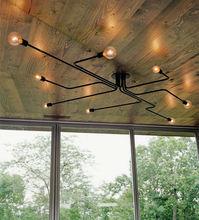Vintage Pendant Lights Multiple Rod Pendant Lamps Wrought Iron Ceiling Lamp E27 Bulb Lamparas for Home Lighting Fixtures