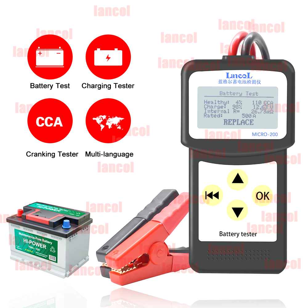 LANCOL MICRO200 <font><b>Car</b></font> <font><b>Battery</b></font> Tester Measurement Unit Auto Tester <font><b>Tools</b></font> 12V Multi-language Automotive <font><b>Diagnostic</b></font> <font><b>Tool</b></font> <font><b>Car</b></font> Tester image