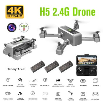 H5 2.4G Foldable RC Drone Aircraft 4K HD Camera 90 Degree Wide Angle Optical Flow Positioning Follow Me Airplane Toy