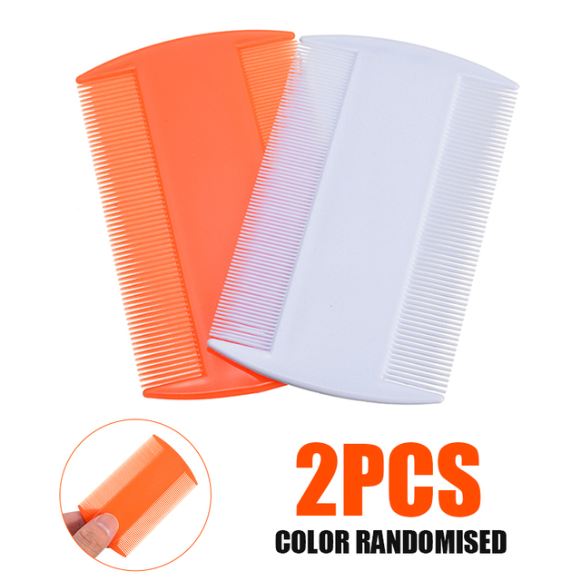 2pcs Double Sided Head Lice Comb Protable Fine Tooth Head Lice Flea Nit Removal Hair Combs Hair Styling Tools Random Color