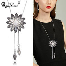 Crystal Flower Tassel Long Necklaces & Pendants Women Accessories Fashion Jewelry Simulated Pearl Silver Chain Choker Collares(China)