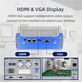 Fanless Mini PC Intel Core i7 4500U i5 4200U Dual Gigabit Ethernet RS232 HDMI VGA WiFi 4xUSB3.0 Windows 10 Industrial Micro PC