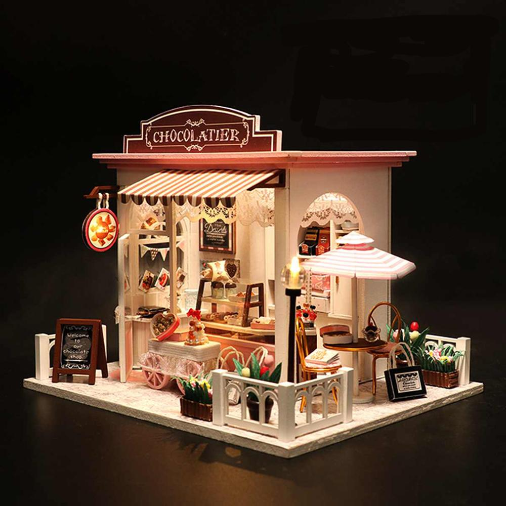 Doll House Toys for Children Furniture Miniature Doll Houses Wooden Miniaturas Assembly Dollhouse casa Birthday Gifts C007