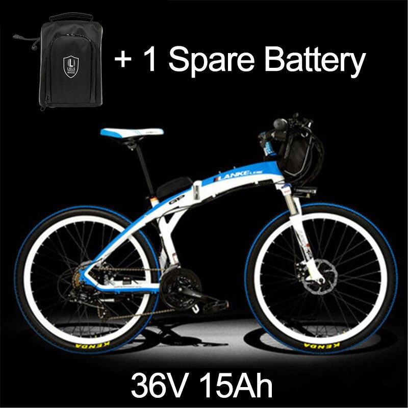 Lankeleisi 189,47 электрический велосипед, складной велосипед, 26 дюймов, 36/48 в, 240 Вт, дисковый тормоз, быстрый складной, горный - Цвет: 15a White Blue Plus