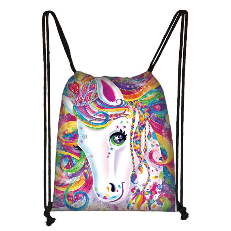 Cute Unicorn Print Drawstring Bag Women Travel Bag Girl Causal Backpack Kids Storage Bags