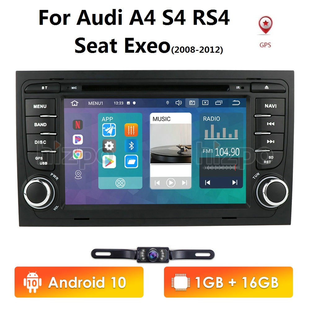 Бесплатная камера 1024*600 четырехъядерный 2din Android 10 автомобильный dvd плеер для Audi A4 (8E/8h) 2000 2012 S4 RS4 B6 B7 Seat Exeo GPS Navi