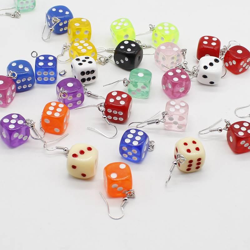 Fun 3D Dice Pendant Earring Tassel Casino Women Candy Color Personality Fun Jewelry Gift