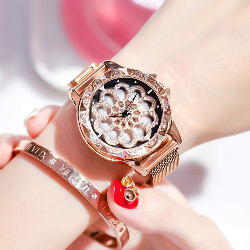New Lucky Women Bracelet Watches Luxury Rose Gold Rotating Dial Quartz Clock Fashion Magnetic Wristwatches Relogio Feminino 2019