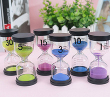 6 pcs Hourglass Sand Clock Watch Sandglass Timing Gift for Kids Home Decoration 1/3/5/10/15/30 Minutes sablier Stand Timer