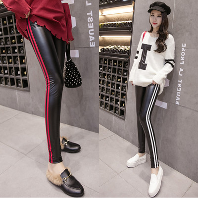 2018 New Style PU Leather Pants Women's High-waisted Autumn And Winter Sports Stripes Outer Wear Fleece Leggings Women's Skinny