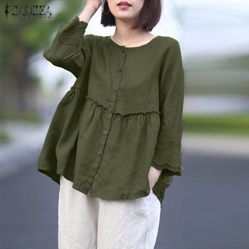 ZANZEA Summer 3/4 Sleeve Lace Crochet Shirt Elegant Women's Blouse Solid Cotton Linen Blusas Ruffles Chemise Buttons Down Tops