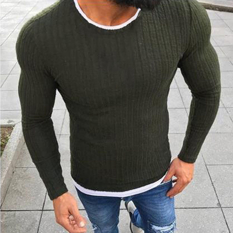 Men Tops Male Sweater 2019 Winter Solid Casual Fashion Long Sleeve Skinny Sweatshirt Splice
