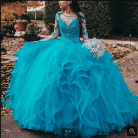 2020 new arrival blue lace appliques ball gown prom dress long sleeve beaded hollow back sexy corset puffy quinceanera dresses