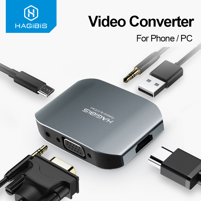 Hagibis adaptador <font><b>hdmi</b></font> <font><b>vga</b></font> hd, adaptador de vídeo conversor de áudio para celular/notebook conectado à tv para iphone xs 8 ipad android, image