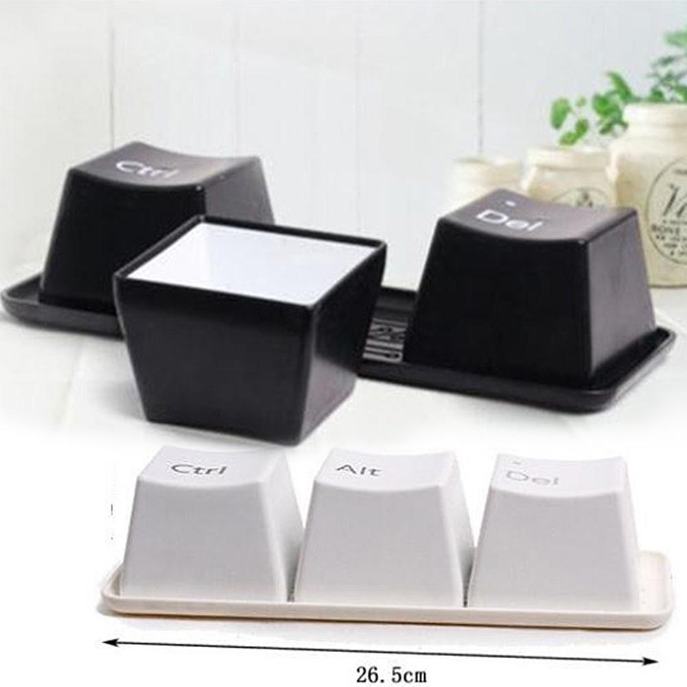 3Pcs Novelty Tea Cup Set Keyboard Key Ctrl Alt Mug Home Office Coffee ContainerLightweight Dining Mugs Portable Drinkware
