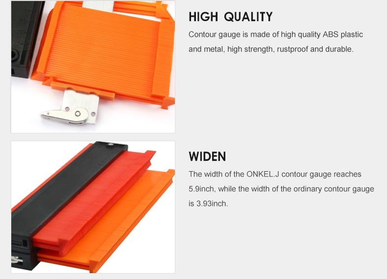 ONKEL.J Brand Lock Wider Contour Gauge Profile Tool Alloy Edge