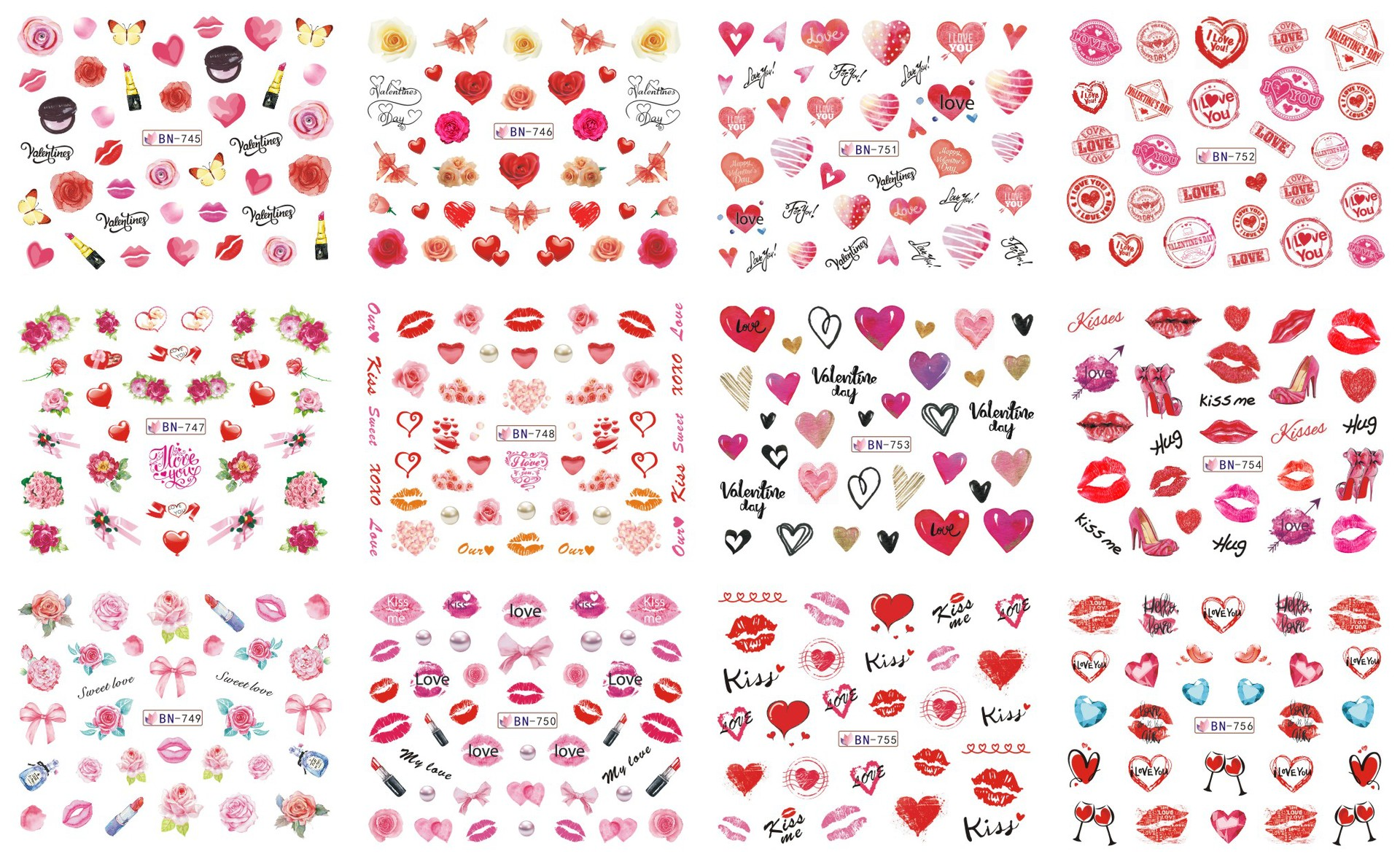 BN685-864 Large Flower Fire Lie Niao Nail Sticker Cross Border Electricity Supplier Valentine's Day Nail Sticker