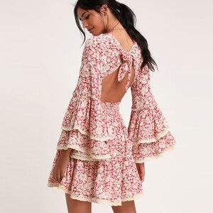 Image 3 - TEELYNN rosa kleid 2020 rayon langarm floral print herbst Kleider mini kurze frauen kleider garten party BOHO Kleid vestidos
