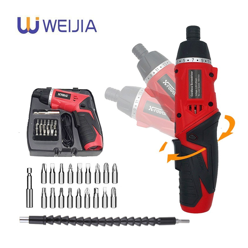 3.6V Lithium Battery Electric Screwdriver Rechargeable Adjustable Multi-function Cordless Drill Power Tools LED WIth 19PCS Bits