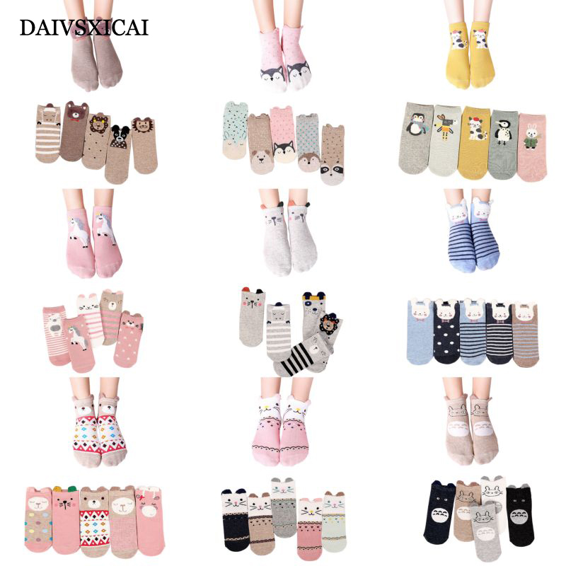 5pairs/lot=10pieces New Women Cotton Socks Pink Cute Cat Ankle Socks Short Women Casual Animal Ear Red Heart Gril Socks 35-40