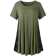 Women Casual T-shirt Lace Tunic Top Short Sleeve Loose T-shirt O Neck Summer Tee Shirt Femme Pullover Female Plus Size Tees 2020