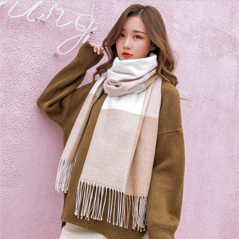 Patchwork Blue Merino Wool Scarf For Women Shawl Winter Cashmere Plaid Scarves Pashmina Female Poncho Stole Ladies Hijab Scarf