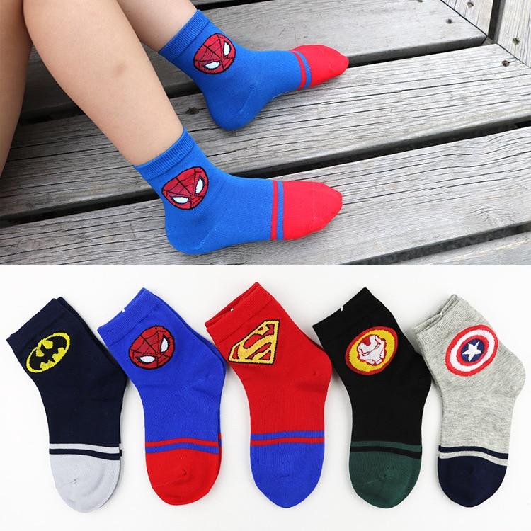 NEW Five Pairs Different Color Kids Socks Superhero Socks Marvel Socks Keep Warm Socks, Winter Socks Boys Socks Girl Socks