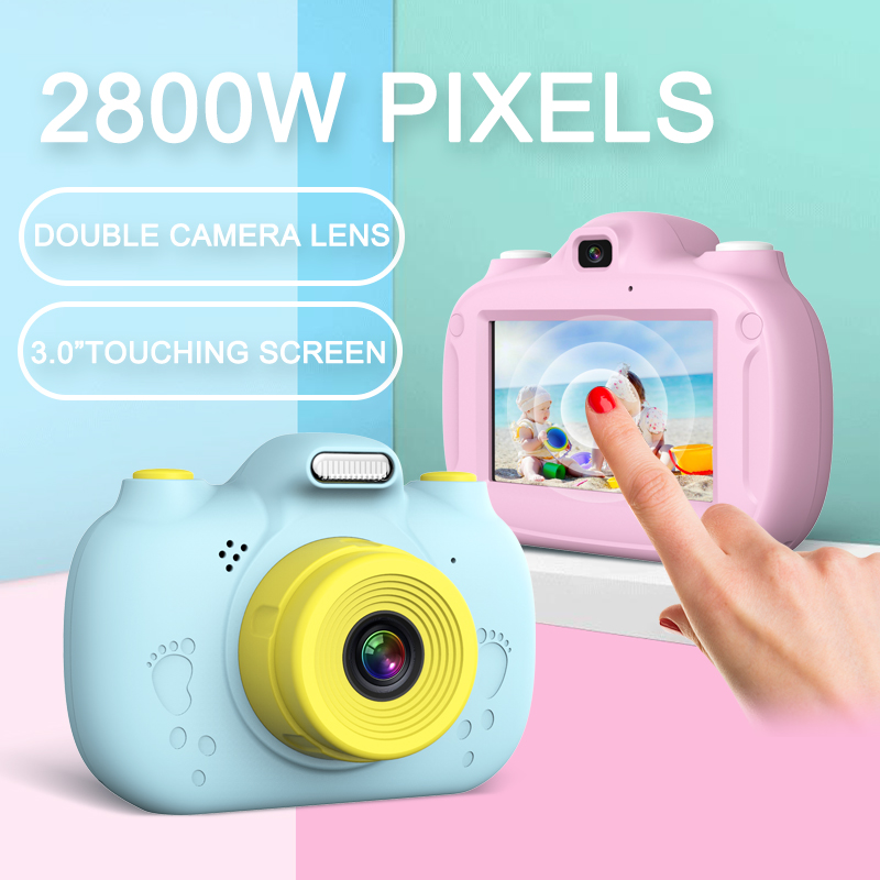 Kids Cartoon Digital Camera 28MP High Pixels Built In WIFI 2800W Double Camera 3.0 Inches IPS 1080P HD Touching Screen Toys Gift