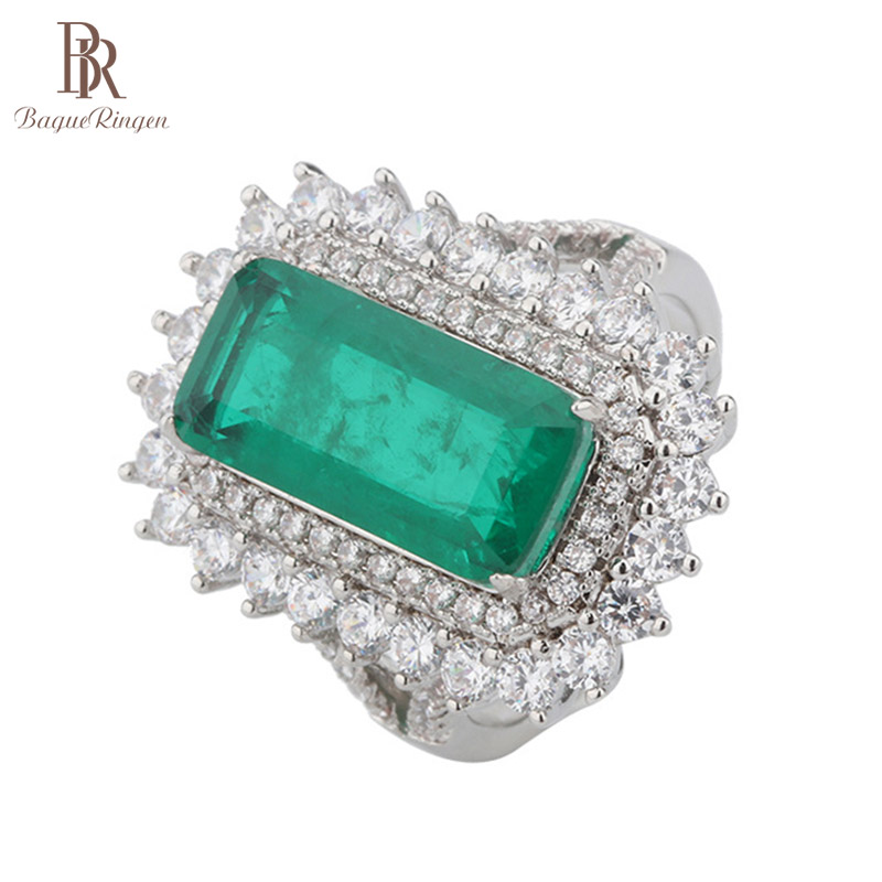 Bague Ringen Luxury design Silver 925 Jewelry Rectangle Gemstones Ring for Women 8*19mm Emerald Female Anniversary Birthday Gift