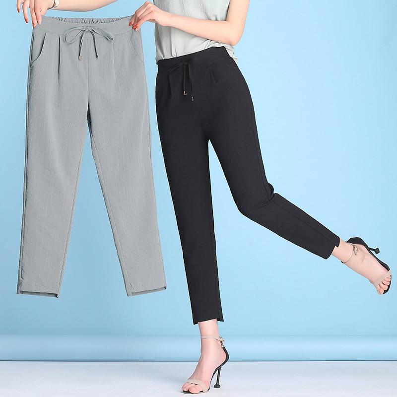 Summer Women Harem Pants 2020 Plus Size 4XL Casual Trouers Cotton Linen Loose Female Drawstring Solid Color Anklet Length Capris