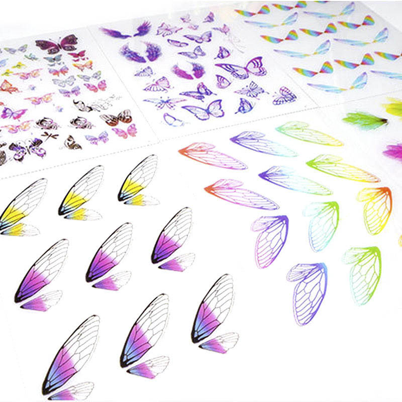 Colorful Butterfly Wings Clear Material Stickers Epoxy Mold Filling Sticker For DIY Jewelry Handmade Stickers Material Findings