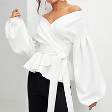 White Shirt Lady Office Elegant Lantern Sleeve Surplice  Peplum Off The Shoulder Solid Blouse Autumn Women Sexy Tops And Blouses недорого