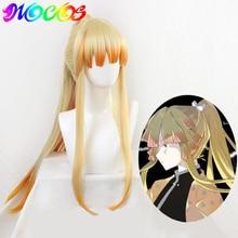 Diocos anime 악마 슬레이어 kimetsu no yaiba agatsuma zenitsu 코스프레 가발 남성 여성 90cm 긴 내열성 머리카락