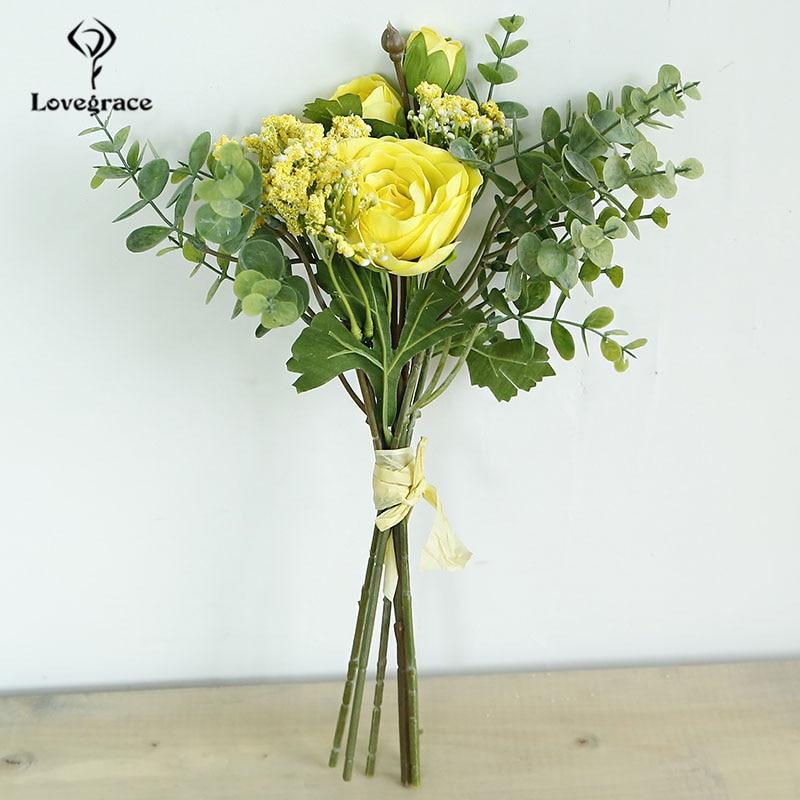 Lovegrace Flower Bouquet Bridesmaid Wedding Bouquet Artificial Silk Lotus Flower Eucalyptus Leaf White Baby's Breath Home Decor