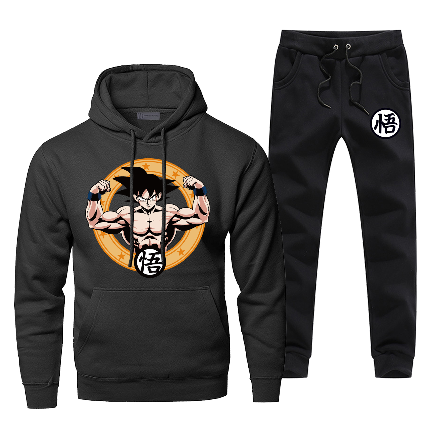 Fashion Dragon Ball Super Saiyan Sweatshirt Tracksuit Men Hoodies Two-piece Sets Hoodies+Pants Warm Fleece Sportswear Sweatpants