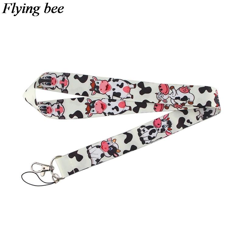 Flyingbee The Cow Keychain Cartoon Cute Phone Lanyard Women Fashion Strap Neck Lanyards For ID Card Phone Keys X0585