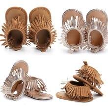 Нескользящая обувь для новорожденных девочек с мягкой подошвой; Мокасины с кисточками; сандалии; летние модные винтажные мягкие пляжные сандалии для малышей