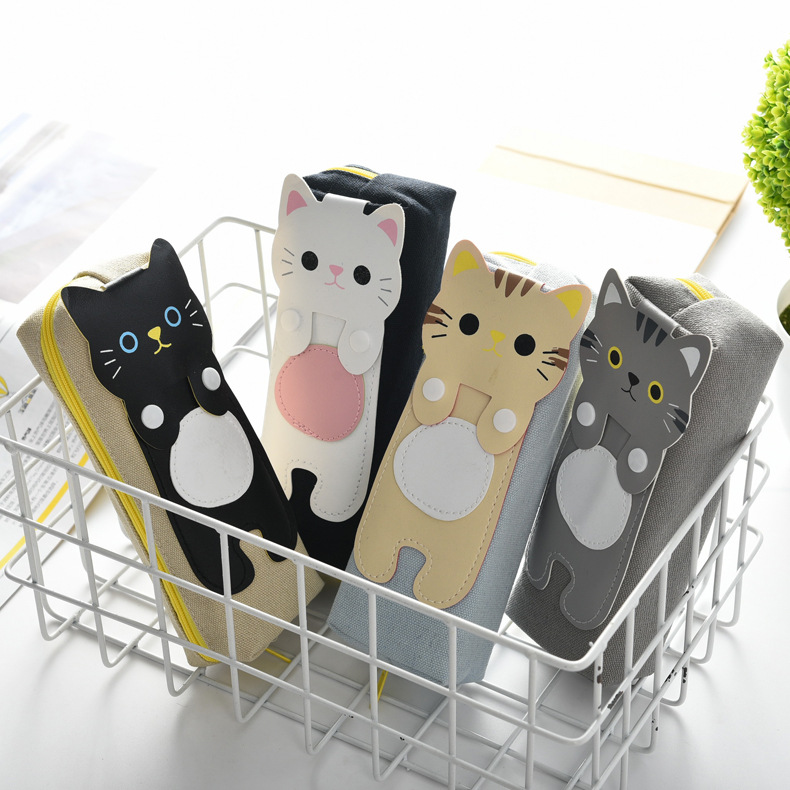 2019 new creative fun stationery canvas cartoon cute cat pencil case in Pencil Bags from Office School Supplies