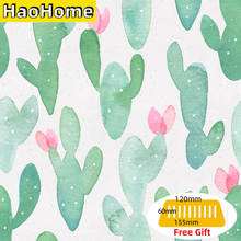 HaoHome Cactus Peel and Stick Wallpaper Removable for Lockers Green/Pink Vinyl Self Adhesive Contact Paper Bedroom Decor
