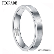4mm Tungsten Ring Brush Bevel Edge Wedding Band Mens Womens Comfort Fit Silver