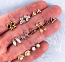 10 Pairs/Set Boho Arrow Cross Moon Flower Gem Gold Earrings Set Women Punk Stud Earrings Set Personality Party Clothing Jewelry(China)